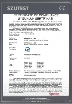 Certificate of complience Carbon Betonmash
